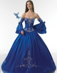 blue color ball gown